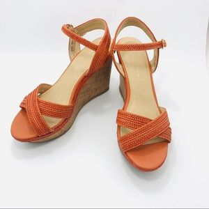 Chinese Laundry orange woven strappy cork wedges